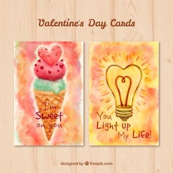 Aguarela valentine cartões originais