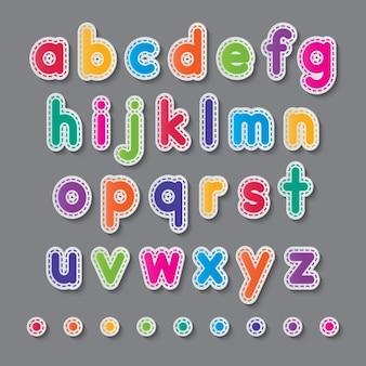 Alfabeto colorido com linhas tracejadas