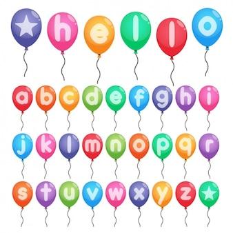 Alfabeto colorido em balões