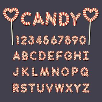 Alfabeto colorido em doces
