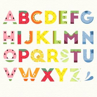 Alfabeto com design de frutas