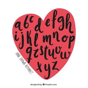 Alfabeto dentro de um coração