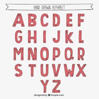 Alfabeto desenhado mão vermelha