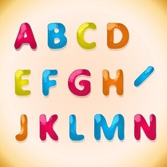 alfabeto doces para crianças no estilo colorido