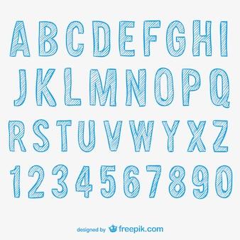 Alfabeto e números esboçado