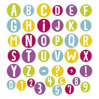 Alfabeto em círculos coloridos