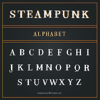 Alfabeto no estilo steampunk