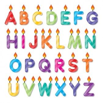 Alfabeto velas em forma de aniversário