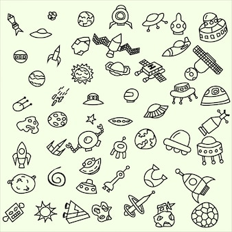 Aliens Coleção de doodles cósmicos ufo meteoritos sausers