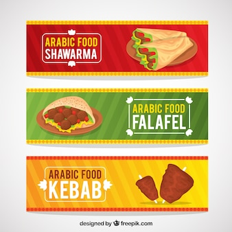 Alimento colorido banners árabe