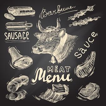 Alimentos à base de carne desenhados mão
