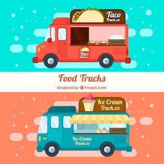Alimentos caminhões com sorvetes e comida mexicana