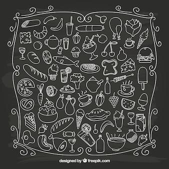 Alimentos esboçado no quadro-negro