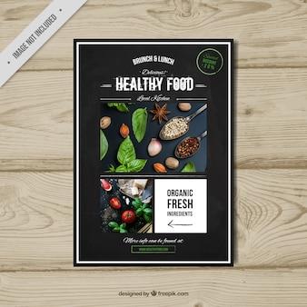 Alimentos saudáveis brochura retro