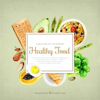 Alimentos saudáveis no estilo da aguarela
