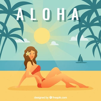 Aloha fundo ensolarado da praia