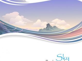 Alpino paisagem do nascer do sol, com ondas de fundo