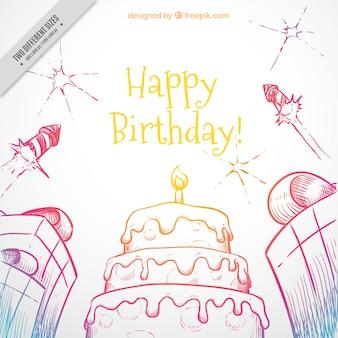 Amarelo aniversário desenhado à mão com bolo e presentes