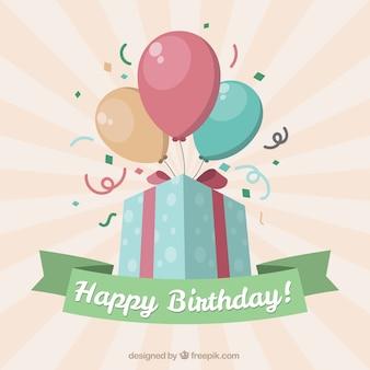 Amarelo aniversário feliz de presentes com balões