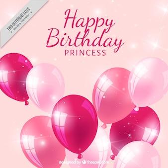 Amarelo aniversário realista com balões cor de rosa