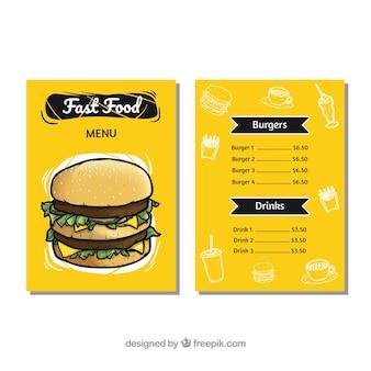 Amarelo fast food menu com elementos desenhados à mão