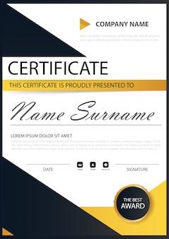 Amarelo preto Elegance certificado horizontal com ilustração vetorial, modelo de certificado de quadro branco com apresentação de padrão limpo e moderno