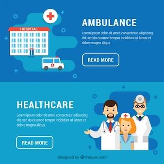 Ambulâncias e saúde banners