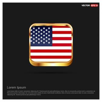 Americano Modelo do botão da bandeira