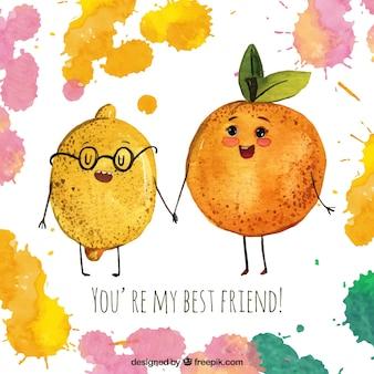 Amizade de fundo de aquarela de limão e laranja
