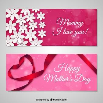 Amor banners feliz dia das mães