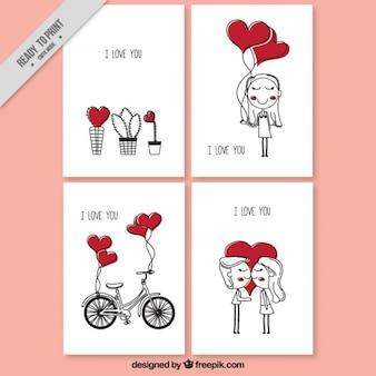 Amor cartões com desenhos bonitos com corações