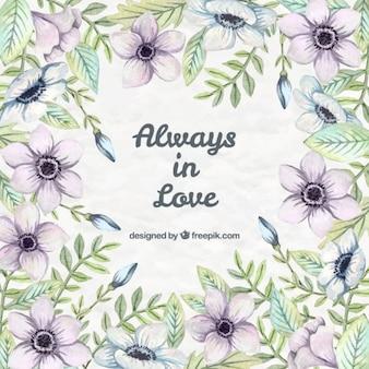 Amor Citação lettering floral