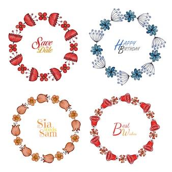 Anéis florais de aquarela