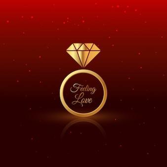Anel de diamante de ouro