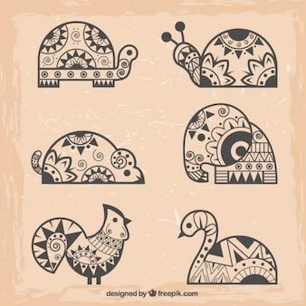 Animais abstratos no estilo étnico