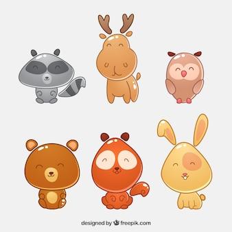 Animais agradáveis florestais com cabeças grandes