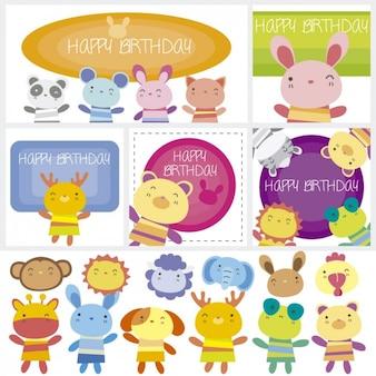 Animais coloridos do aniversário