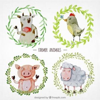 animais de agricultores pintados à mão