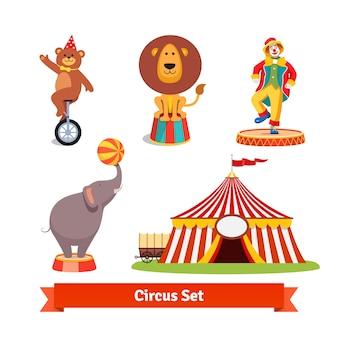 Animais de circo, urso, leão, elefante, palhaço