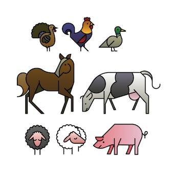 Animais de fazenda design plano
