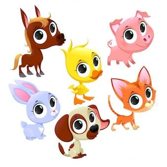 Animais de fazenda engraçado e animais de estimação Vector cartoon isolado caracteres
