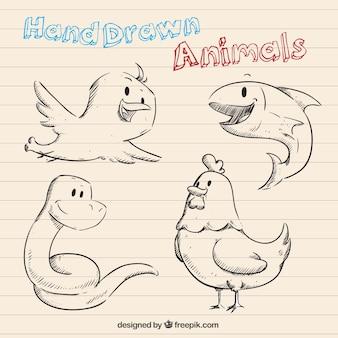 Animais desenhados mão em estilo dos desenhos animados