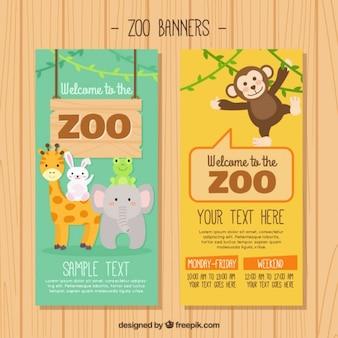 Animais do jardim zoológico banners