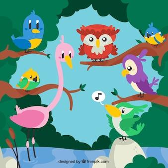 Animais dos desenhos animados na ilustração da natureza