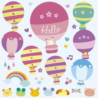 Animais em balões de ar