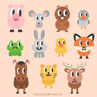 Animais engraçados dos desenhos animados