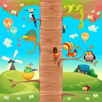 Animais engraçados em filiais dos desenhos animados e cena vector isolado objetos