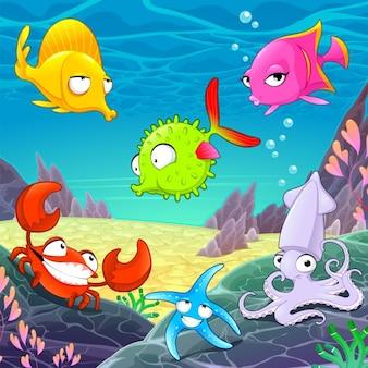 Animais felizes engraçados sob os desenhos animados do vetor mar ilustrações