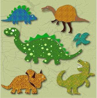 Animais pré-históricos com padrões e texturas editáveis.