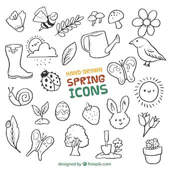 animais primavera desenhados mão e elementos